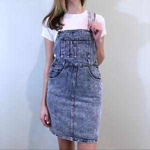 90s Vintage Acid Wash Denim Overall Dress